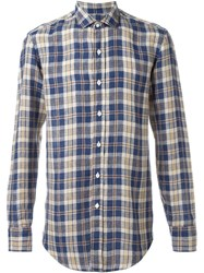 Salvatore Piccolo Plaid Button Down Shirt Blue