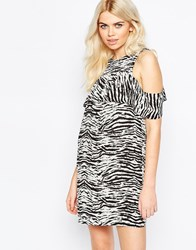 Daisy Street Shift Dress With Frill Top In Mono Scratch Print Blackwhite