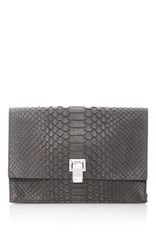 Proenza Schouler Matte Python Small Lunch Bag Light Grey