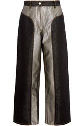 Keji Cropped Two Tone Metallic High Rise Wide Leg Jeans Silver