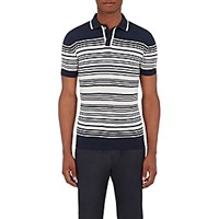 Orley Men's Striped Merino Wool Polo Shirt Navy