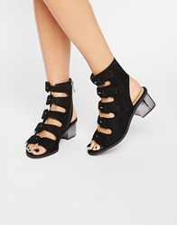 Truffle Collection Multi Buckle Mid Heel Sandals Black Micro