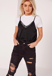 Missguided Lace Trim Cami Overlay Black