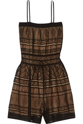 M Missoni Crochet Knit Cotton Blend Playsuit Black