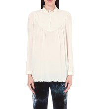 Raquel Allegra Victorian Neck Woven Top Dirty White