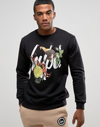 Hype Sweatshirt With Fire Floral Logo Black
