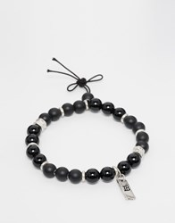 Icon Brand Beaded Bracelet In Black Black