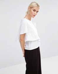 Zacro Boxy T Shirt With Frill Wrap Detail White