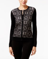 August Silk Lace Front Cardigan Black Beige
