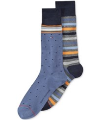 Tommy Hilfiger Print Trouser Socks 2 Pack Navy Charocal Heather Assorted