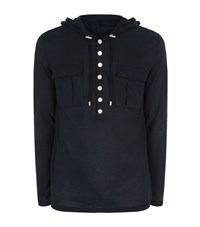 Balmain Cotton And Cashmere Hooded T Shirt Male