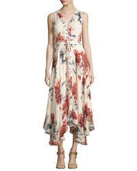 Haute Hippie Sleeveless Lace Up Floral Silk Midi Dress Lincoln