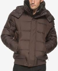 Marc New York Men's Kane Rockingham Puffer Bomber With Faux Fur Collar Espresso