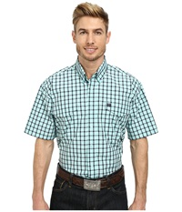 Cinch Short Sleeve Plain Weave Plaid Double Shirt Light Blue Men's Short Sleeve Button Up