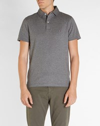 Tommy Hilfiger Charcoal Oxford Jersey Trim Polo Shirt Grey