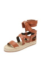 Rebecca Minkoff Gila Lace Up Espadrille Sandals Chestnut