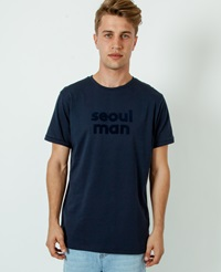 A Question Of Seoul Man Crew Neck T Shirt Navy Blue