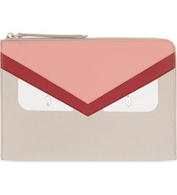 Fendi Monster Leather Ipad Pouch Beige Red