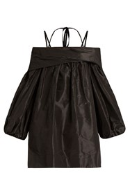 Isa Arfen Off The Shoulder Silk Taffeta Dress Black