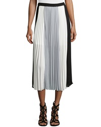 Laundry By Shelli Segal Pleated Colorblock Maxi Skirt Black Ivory Grey