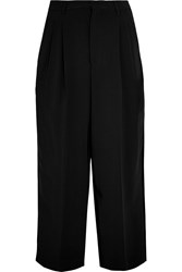 Antonio Berardi Cropped Velvet Trimmed Stretch Crepe Wide Leg Pants Black