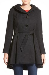 Women's Steve Madden Belted Hooded Skirted Coat Black