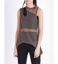 Unravel Double Neck Mesh Tank Top Army