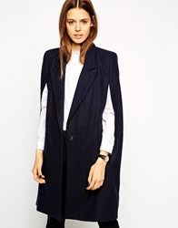 Asos Coat With Cape Sleeve Navy