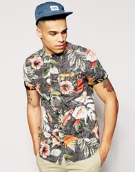 New Look Short Sleeve Shirt In Reverse Bright Floral Black