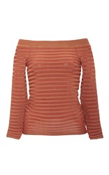 Pepa Pombo Off The Shoulder Striped Top Brown