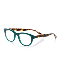 Eyebobs Sugar Square Colorblock Readers Green Tortoise Green Green