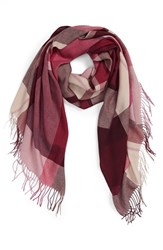 Nordstrom Women's Academy Check Wool And Cashmere Scarf Burgundy Combo