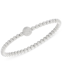 Wrapped Diamond Cluster Circle Bead Stretch Bracelet 1 6 Ct. T.W. In Sterling Silver
