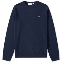 Lacoste Classic Lambswool Crew Knit Blue