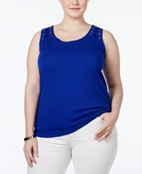 Inc International Concepts Plus Size Laced Grommet Tank Top Only At Macy's Goddess Blue