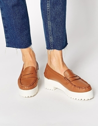 Park Lane Chunky Leather Loafers Tan