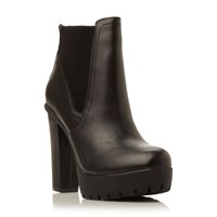 Steve Madden Amandaa Chunky Cleated Low Boots Black Leather