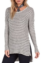 Volcom Women's Knit High Low Sweater Black Combo