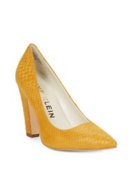 Anne Klein Hollyn Snake Embossed Suede Heels Dark Yellow