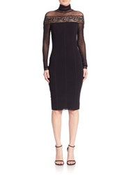 Fuzzi Lace Applique Turtleneck Dress Black