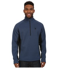 Spyder Outbound Half Zip Mid Weight Core Sweater Sagan Black Black Men's Sweater Blue