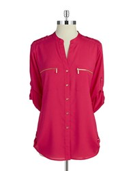 Calvin Klein Zipper Utility Shirt Winter Rose