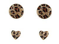 Guess Heart And Round Button Duo Gold Leopard Earring