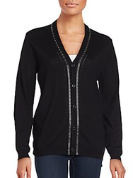 Versace Studded Wool Cardigan Black