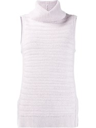 Leo And Sage Roll Neck Sleeveless Knitted Top Pink And Purple