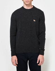 Maison Kitsune Lambswool Neck Pullover Dark Grey