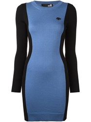Love Moschino Heart Plaque Fitted Dress Blue