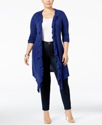 Inc International Concepts Plus Size Ruffled Open Front Cardigan Only At Macy's Tartan Blue