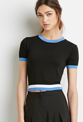 Forever 21 Varsity Striped Crop Top Black White