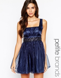 Lipstick Boutique Petite Embellished Organza Sweetheart Prom Dress Navy